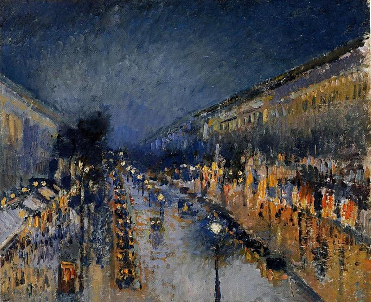 The boulevard montmartre at night by camille pissarro for Piscine nocturne paris