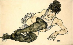 Egon Schiele - Reclining Woman with Green Stockings (Adele Harms) Image courtesy Prestel and Galerie St. Etienne