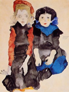 Egon Schiele - Two Little Girls, 1911, Image courtesy Prestel and Galerie St. Etienne