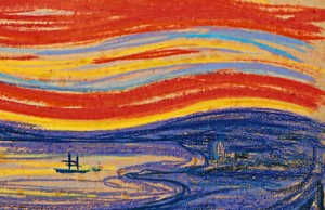 Edvard Munch-Scream red sky and sail boat