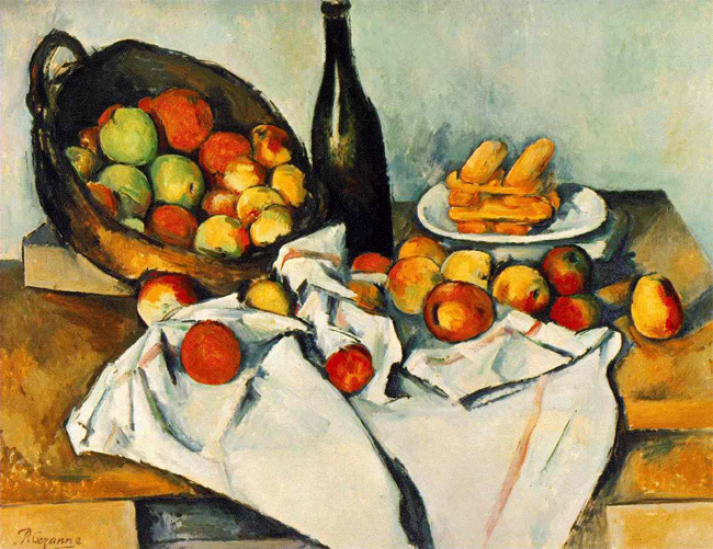 Still Life with Bottle and Apple Basket by Paul Cezanne