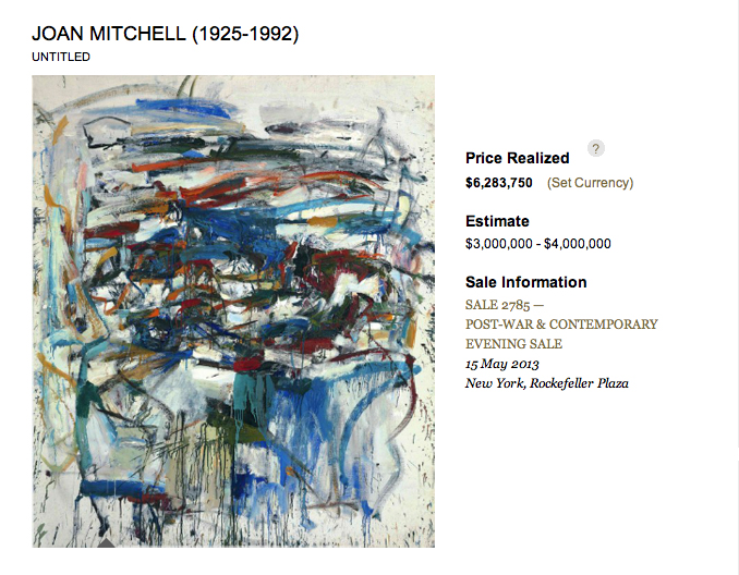 Joan Mitchell - Untitled. Christie's May, 2013