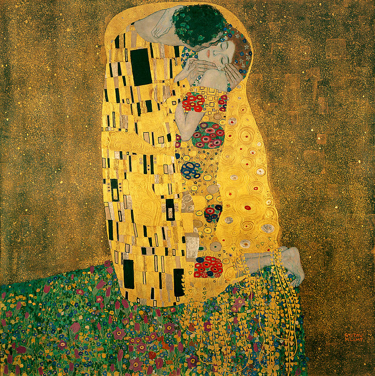 the kiss by gustav klimt on view at the belvedere castle vienna. Black Bedroom Furniture Sets. Home Design Ideas