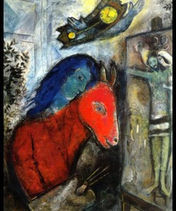 Marc Chagall, 'Self Portrait With A Clock In Front Of Crucifixion', 1947, oil on canvas