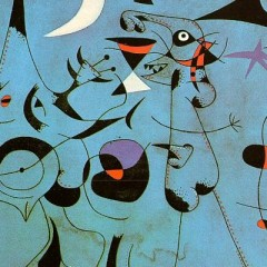 Figures in the Night Guided by the Phosphorescent Tracks by Joan Miro