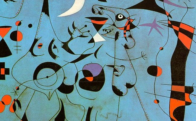 in the Night Guided by the Phosphorescent Tracks by Joan Miro
