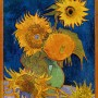 Vincent Van Gogh, 'Sunflowers' shown with an orange frame