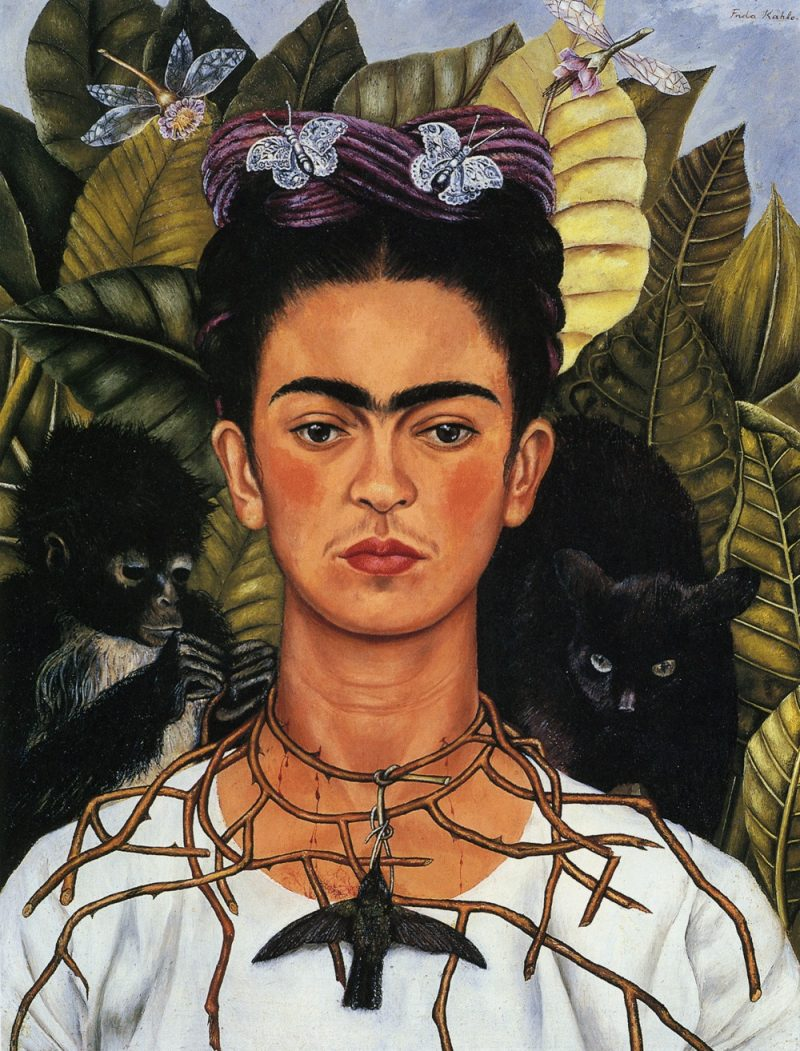 self portrait thorn necklace and hummingbird by frida kahlo frida kahlo self portrait hummingbird