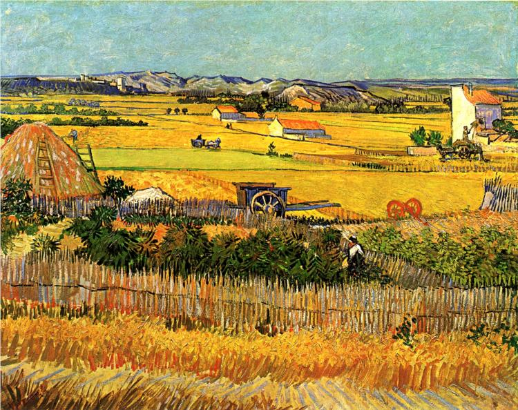 Vincent van Gogh. Harvest at La Crau, with Montmajour in the Background, Arles, June 1888. Oil on Canvas, Amsterdam, Rijksmuseum Vincent van Gogh Foundation