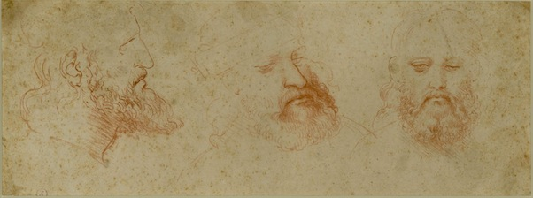 Leonardo da Vinci - Three Views of a Bearded Man