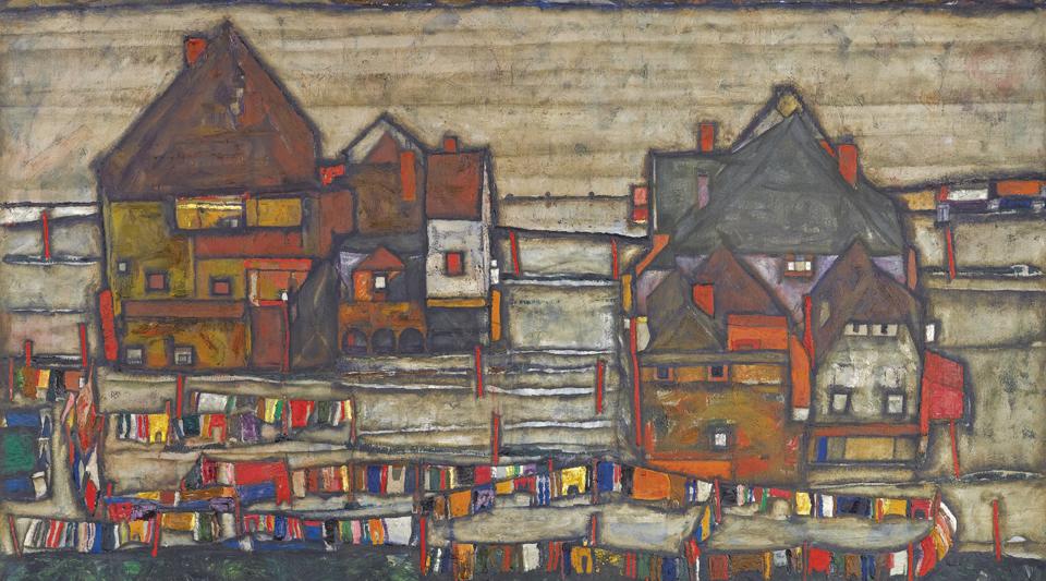 Egon Schiele HOUSES WITH LAUNDRY, ArtEx