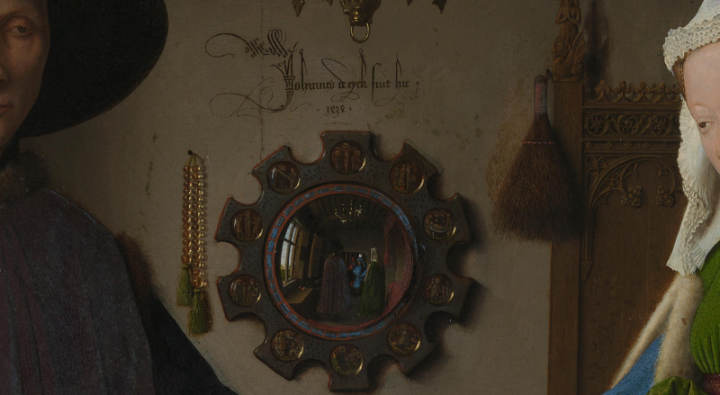 The arnolfini portrait by jan van eyck symbolism revealed for Mirror meaning