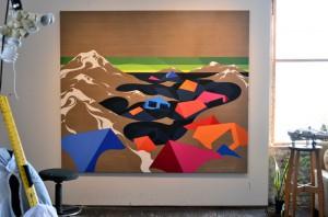 Eske Kath's new paintings. Bushwick Open Studios 2014. Photograph © Kristina Nazarevskaia