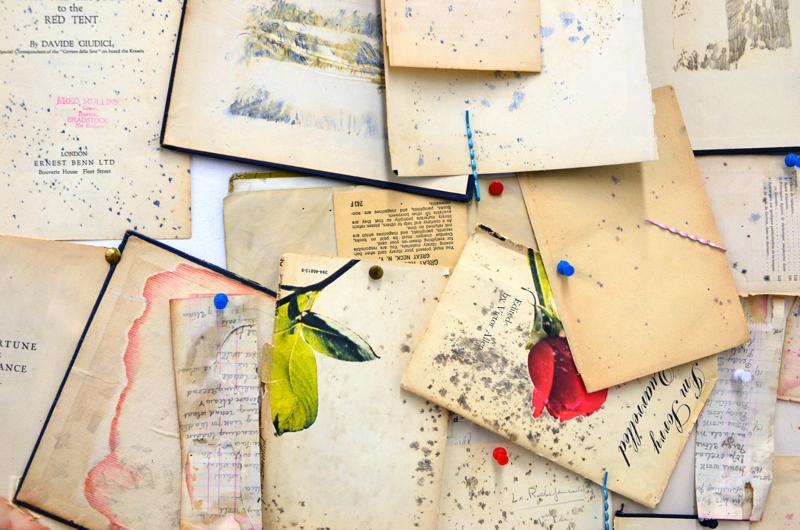 Ross Tibles' book collage. Bushwick Open Studios 2014. Photograph by Kristina Nazarevskaia