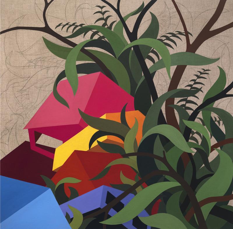 Clash, 2014 Eske Kath, Acrylic and coal on unprimed linen