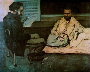 Paul Cezanne, 'Paul Alexis reading to Emile Zola' 1870, Oil on canvas