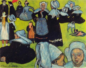 Breton Women in the Meadow by Émile Bernard, August 1888