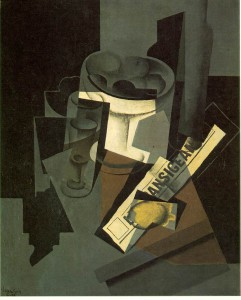 Juan Gris, Fruit Dish, Glass, and Lemon (Still Life with Newspaper)
