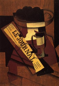 Juan Gris, Fruit Dish, Glass and Newspaper, 1916