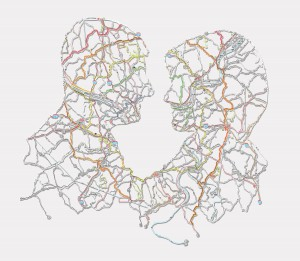"Nikki Rosato,Evan & Jessi 10.5""X6.5"", Hand cut road map, 2009"