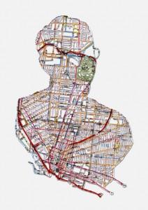 """Nikki Rosato, Nathan: Buffalo, NY, 10.5""""X6.5"""", Hand cut road map, 2009"""
