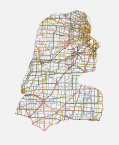 "Jennifer: Chicago, IL, 20""X16"", Hand cut road map, 2013"