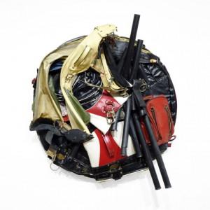 "Charles McGill, Crash (Tondo) 2015, Reconfigured golf bags 36"""