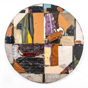 "Charles McGill, Territories (Tondo) 2015, Reconfigured golf bags, 48"""