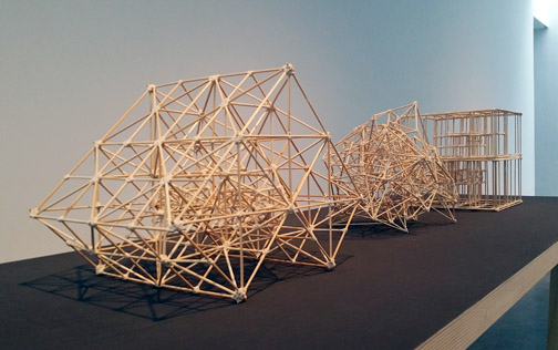 James Siena, 'Richard Rand', 'Nuisance Value' and 'Iain Banks'. Bamboo, string and glue sculptures, 2014. Photograph © Kristina Nazarevskaia