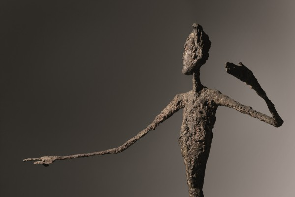 Alberto Giacometti, detail, L'homme au doigt, bronze with patina and hand-painted by the artist, conceived in 1947. Image courtesy Christie's Images Ltd.