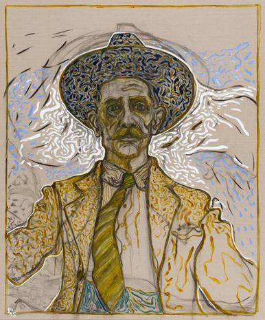 Billy Childish Self Portrait with Tie. Oil and Charcoal on linen