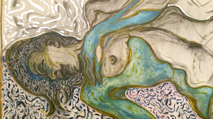 Billy Childish, Nude Reclining, Detail, oil and charcoal on linen, 2015