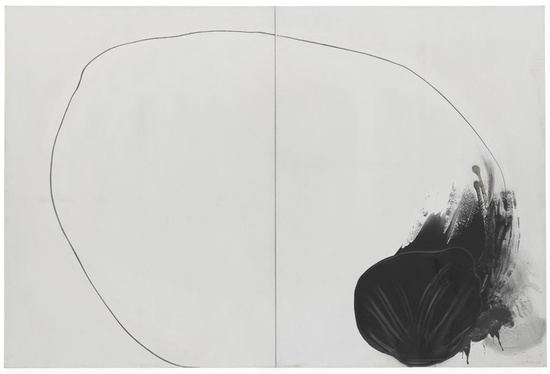 Cercle 96-6-2, 1996 Polyvinyl acetate adhesive, graphite pencil on canvas mounted on board 2 parts, each: 205 x 153 x 6.5 cm / 80 3/4 x 60 1/4 x 2 1/2 in