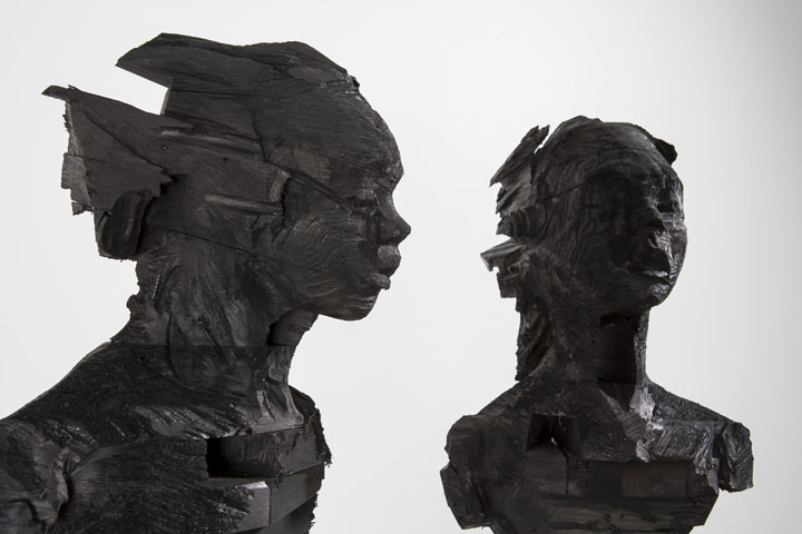 Wim Botha, 'A Thousand Things' part 10, Detail. Treated wood and black ink. Image © Wim Botha