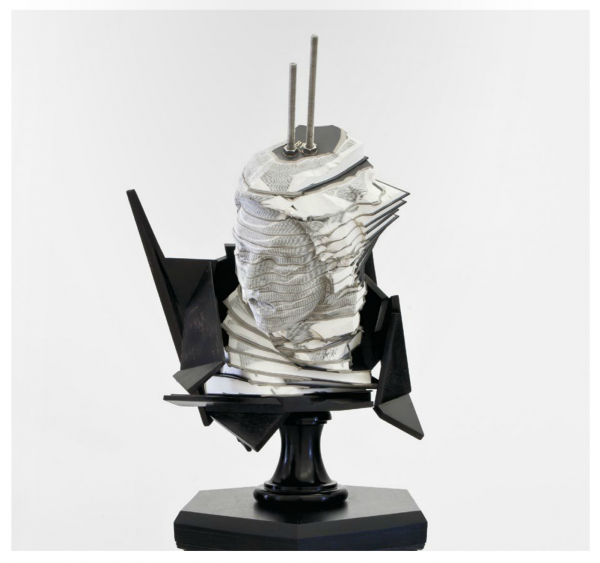 Wim Botha, Bust, Encyclopedias, Wood, Stainless Steel. Image © Wim Botha Courtesy STEVENSON