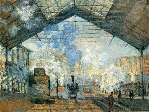 Claude Monet, 'La Gare Saint-Lazare', 1877. Oil on canvas. In the collection of the Musee D'Orsay, Paris
