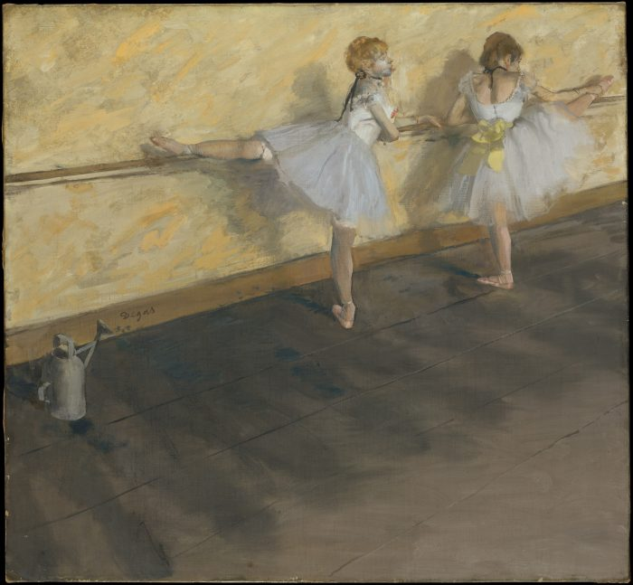 10 Impressionists. Edgar Degas, 'Dancers Practicing at the Barre', 1877. Oil on canvas. In the collection of the Metropolitan Museum of Art