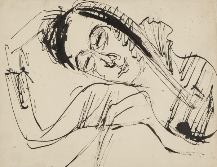 Ernst Ludwig Kirchner, 'Resting Head', 1912. Pen and ink on thin cream wove paper. Image courtesy Galerie St. Etienne
