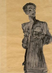 Egon SchieIe. Self-Portrait in Street Clothes, Gesturing 1910. Watercolor and pencil on brown paper Image courtesy Galerie St. Etienne