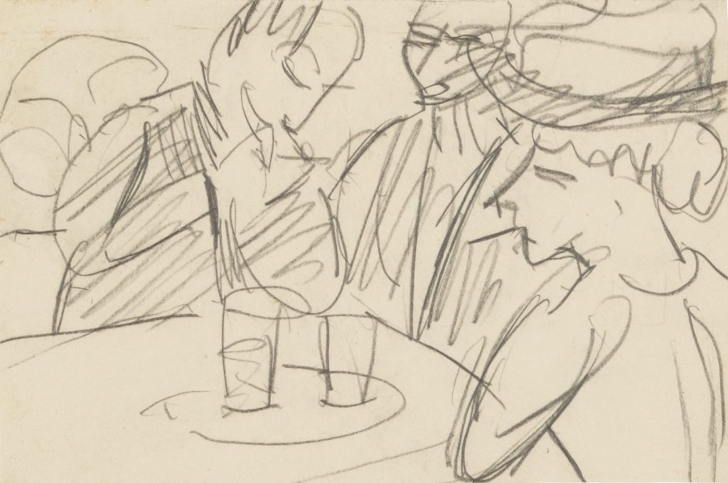 Ernst Ludwig Kirchner, 'Three Figures At Cafe Table', Circa 1915. Graphite on thin cream wove paper. Image courtesy Galerie St. Etienne