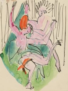 Ernst Ludwig Kirchner, 'Two Dancers' 1927. Pen and ink, watercolor and graphite on thin cream wove paper. Image courtesy Galerie St. Etienne