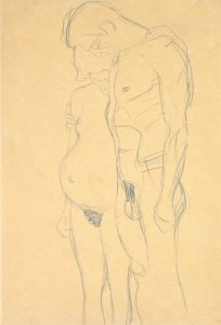 Gustav Klimt, 'Pregnant Woman and Man' 1903-04. Blue crayon on heavy tan wove paper. Image courtesy Galerie St. Etienne