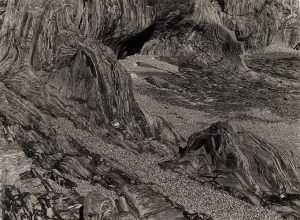 Albert Renger-Patzsch, 'Schieferkuste an der Bretagne' (Slatestone Coast, Brittany). c. 1960. Vintage silver print on Agfa-Brovira paper. Courtesy Charles Isaacs Photographs, New York. AIPAD