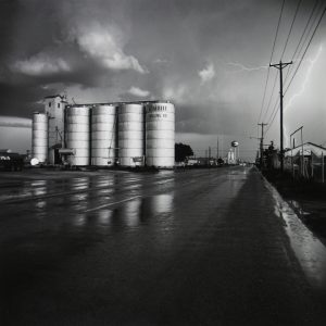 Frank Gohlke, 'Grain Elevator and Lightning Flash, Lamesa, Texas', 1975 Gelatin silver print. Printed 1996. Courtesy Howard Greenberg Gallery, New York. AIPAD