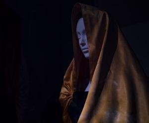 "Eisa. Evening Dress, 1951. Black silk marocain crepe and yellow silk faille. ""Heavenly Bodies: Fashion and the Catholic Imagination"". ©Kristina Nazarevskaia for galleryIntell"