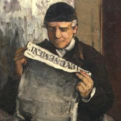 "Paul Cézanne (French, 1839 - 1906 ), The Artist's Father, Reading ""L'Événement"", 1866, oil on canvas, Collection of Mr. and Mrs. Paul Mellon"