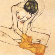 Seated Femaile Nude with Yellow Blanket - Egon Schiele