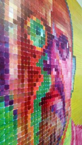 Chuck Close, Red Yellow Blue, Pace Gallery, self-portrait detail. Photograph by Kristina Nazarevskaia